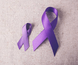 two purple ribbons for cancer
