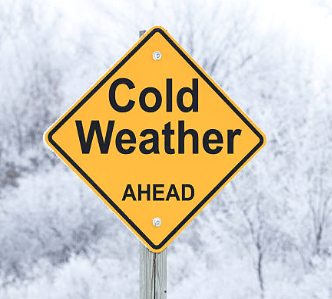 yellow cold weather alert sign